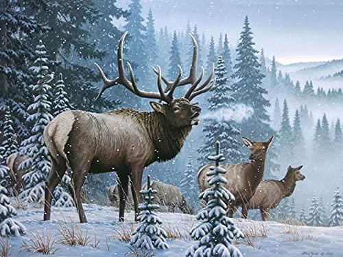 5D DIY ciervo mosaico invierno bordado de diamantes kit de bordado de punto de cruz animal decoración del hogar pintura de diamantes A11 30x40cm