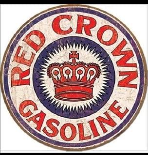 ShopForAllYou Vintage Decor Signs New Red Crown Gasoline Gas Service Garage Retro Round Metal Tin Sign