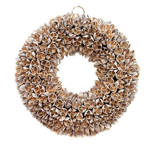 COURONNE Türkranz mit Aufhängevorrichtung 30cm in White wash, gefertigt aus Bakuli-Früchten - Deko aus Naturmaterialien als Herbstdeko im Shabby chic Design