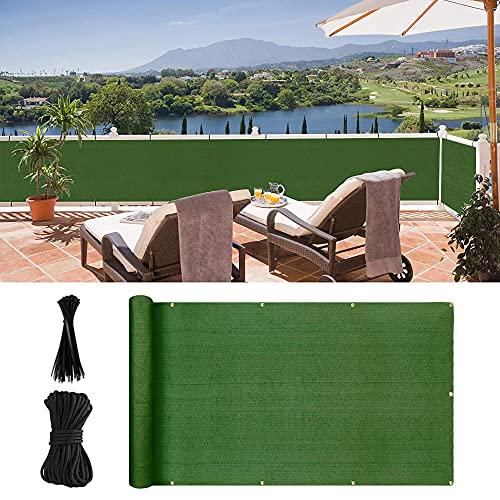N\C Balkon-Sichtschutzzaunabdeckung, UV-witterungsbeständig, hohe Sichtbarkeit, Zaun-Windschutz mit Kabelbindern für Balkon, Hinterhof, Terrasse, Veranda, Garten (500 × 90 cm, grün)