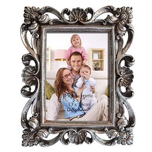 Giftgarden Bilderrahmen 13x18 Silber Vintage Fotorahmen antik barock Deko Rahmen Hochzeit edel Geschenk für Freund oder Familie