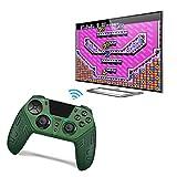 FXQIN PS4 Controlador de Juegos inalámbrico Compatible con PS4, PC, Android, iOS Smartphone Bluetooth Gamepad Joystick con Panel táctil Función de Doble vibración Turbo / Audio