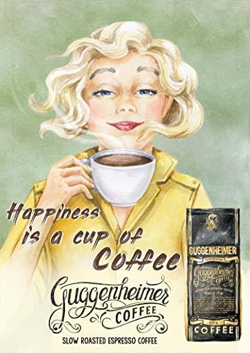 Vintage Kaffee Poster - Happiness is a Cup of Coffee - Bild Kunstdruck 50 x 70 cm - Café Bar Pub Einrichtung