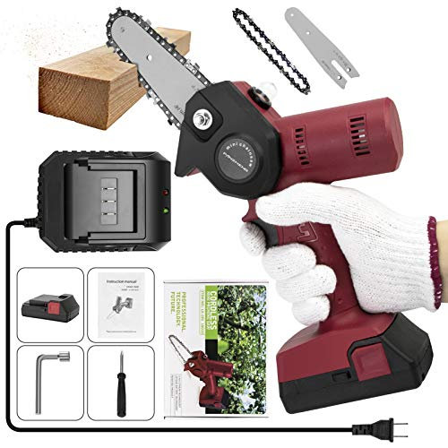 PANZHENG Upgrade Mini Chainsaw 4-Inch Cordless Electric Hand Chain Saw with One-Hand Lightweight, Higher Power Motor and Pruning Shears Chainsaw for Courtyard Tree Branch Wood Cutting - Red 680w