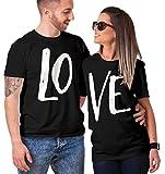 Haase Unlimited Matching Couple LO VE T-Shirt (Black/Black, Mens Large/Ladies Medium)
