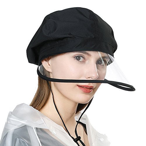 Rollbarer Regenhut Wasserdicht Waterproof Accessoires Damen mit Kinnband Schwarz