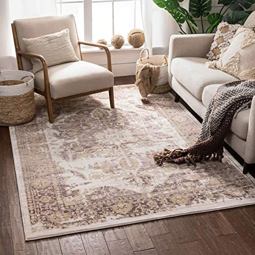 "Well Woven Millie Tribal Lavender Medallion Area Rug 8x11 (7'10"" x 10'6"") Purple Beige Modern Distressed Oriental Plush Super Soft Carpet"