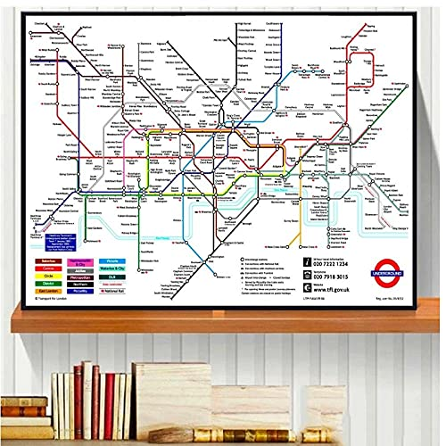 BINGJIACAI Mapa de la ciudad del metro de Londres Arte de la pared de la vendimia Pintura en lienzo Póster e impresiones de imágenes Oficina moderna Decoración para el hogar-50x70cm Sin marco