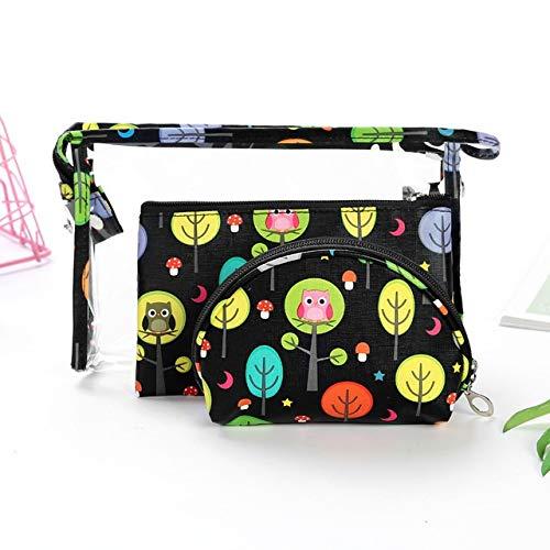 3PCS / Set Fashion Marque cosmétiques Sacs Waterproof Portable Trousse Femmes PVC Sac Voyage Sac de Toilette (Color : Black2)