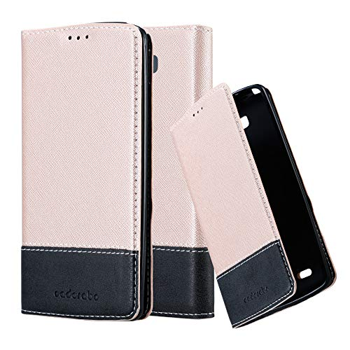 Cadorabo Book Case Compatible with LG G3 in Rose Gold Black - with Magnetic Closure, Stand Function and Card Slot - Wallet Etui Cover Pouch PU Leather Flip