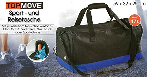 TOPMOVE® Sport - & Reisetasche in Schwarz/Blau 47Liter /Wasserabweisend/Nass und Trockenfach/Schultergurt