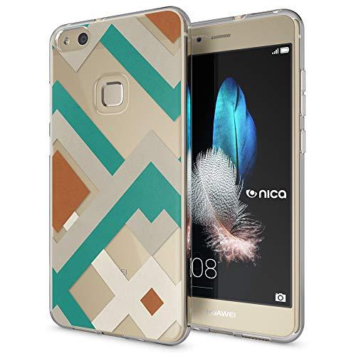 NALIA Cover Custodia per Huawei P10 Lite, Silicone Trasparente Sottile Case Gomma Morbido Cellulare Ultra-Slim Protettiva Bumper Guscio per P-10 Lite Telefono, Designs:Retro Lines