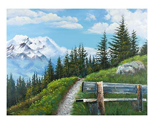 Gilde 38770 Tableau de randonnée Peint à la Main sur Toile Blanc/Vert/Bleu Hauteur 90 cm Largeur 120 cm