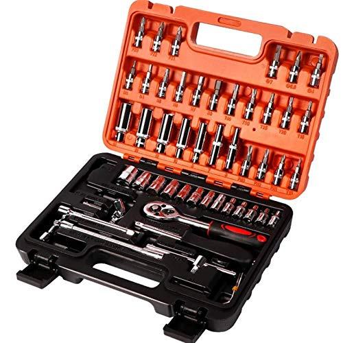 Herramienta de reparación de coches de la llave inglesa 53pcs, herramienta de combinación de socket de socket de llave inglesa de trinquete de trinquete profesional for automóvil reparación de motocic