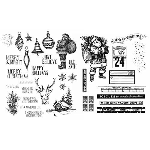 Briartw Feliz Navidad Papá Noel Felices Vacaciones Jingle Bell Deer 2 Piezas Sellos de Goma Transparentes Juego de Sellos de Tinta DIY Scrapbooking Embossing Craft Tarjeta de Regalo �lbum Cardmaking