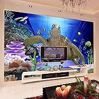 カスタム壁壁画 3D 水中世界ウミガメ不織布防音壁紙リビングルーム現代壁画装飾,430(W)×300(H)Cm