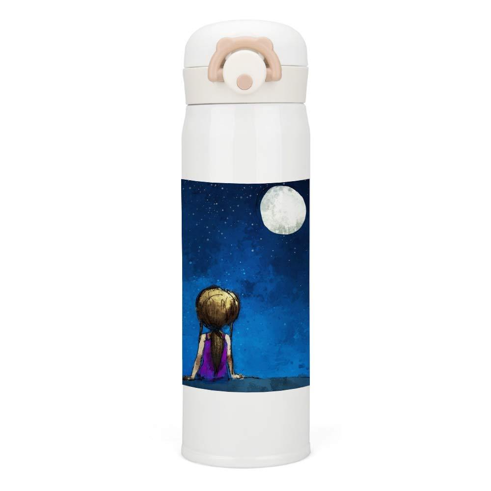 ステンレス鋼 水筒 真空断熱タンブラー スポーツ魔法瓶 0.5L男女兼用 直飲み水筒 ワンタッチ オープン タイプ月明かりの下で小さな女の子軽量 コンパクトでポータブル トラベル アウトドアスポーツ オフィス 学校 500ML