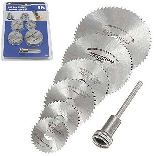 Adealink 6 Pcs HSS Metal Circular Saw Disc Wheel Blades Cut Off Dremel Drill Rotary Tools