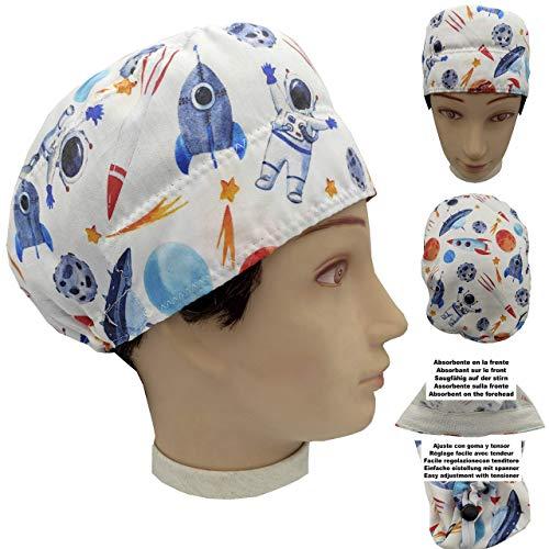 OP Haube Chirurgische Kappe Unisex ASTRONAUT für kurzes Haar, Chirurg, Zahnarzt, Tierarzt, Küche, Handtuch auf der Stirn, verstellbar mit Spanner und Gummi, 100% Baumwolle, BolsoHatillo TC