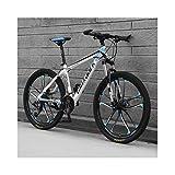 JXXU VTT 26 pouces 21 vitesses pour adulte - Vélo d'extérieur - Double frein à disque - Selle réglable - Cadre en acier à haute teneur en carbone, a