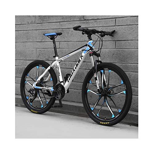 JXXU Vélo de montagne 26 pouces 21 vitesses pour adulte - Vélo d'extérieur pour étudiant - Double frein à disque - Selle réglable - Cadre en acier à haute teneur en carbone - Couleur : A