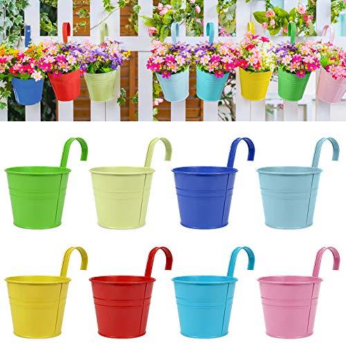 RIOGOO Pots de Fleurs, Pots de Jardin, seaux à Suspendre, Pots de Fleurs en métal, décoration d'intérieur – Crochet Amovible (8 pièces de Taille Moyenne)