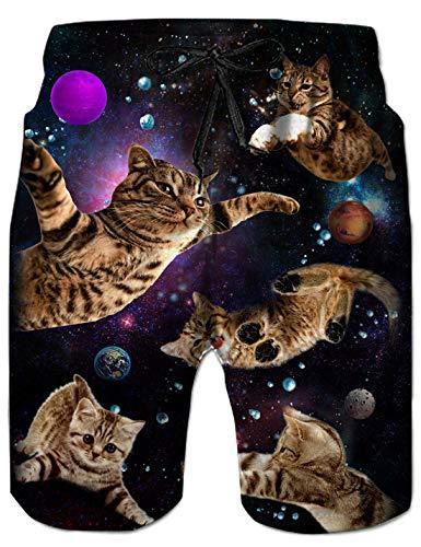 uideazone 3D Galaxy Cat Herren Galaxy Cat Badeshorts Männer Schwimmhose Herren Badehose