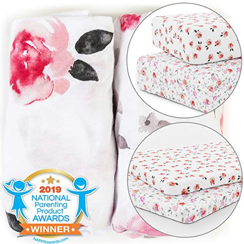 Learn More About Crib and Pack n Play Playard Sheets Bundle - Stretchy, Fitted Jersey Cotton Will Fi...