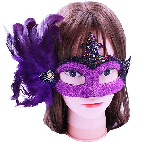 WSJMJ Halloween Party Decoratie masker volwassenen kinderen half gezicht, maskerade, kunststof (kleur: violet, maat: 18 x 11,5 cm)