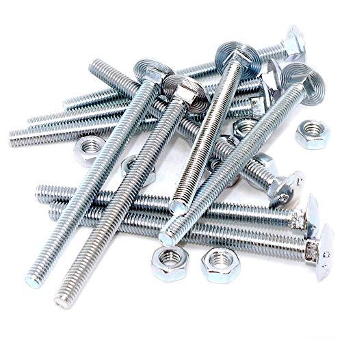 zinc y clara paquete de 25 m6 x 60mm Ahc M/étricas de acero taza de tornillos con tuercas cuadradas suaves