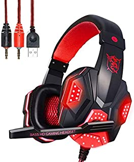$34 » PLEXTONE Gaming Headset with Mic for Xbox One, Switch and PC, Retractable Headphones with LED Lights, Soft Memory Earmuffs...