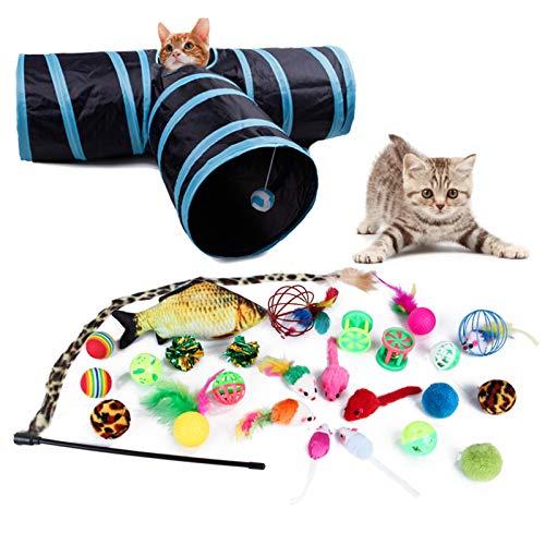 DingGreat Juego de juguetes para gatos con túnel de gato,