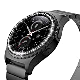Bling Bezel Ring Compatible with Samsung Gear S2 Watch Replacement Bezel Cover with Anti-Scratch Cover Stainless Steel Collision Protection Adhesive Loop Design for Samsung Gear S2 Watch (Black)