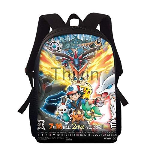 Pokemon Schulranzen für Jungen und Mädchen, süßes Cartoon-Comic-Comic-Design, japanische Schultasche für Schüler und Studenten, hellbraun (Braun) - 9559856496945
