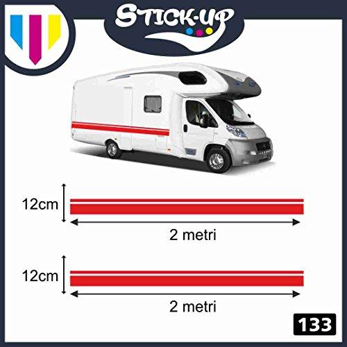 Stick-up Decacolmania - Kit de 2 Adhesivos para Autocaravana, 2 Metros - Adhesivos para Autocaravana, Kit Completo de Vinilo Adhesivo, Tiras Adhesivas gráficas para caravanas y autocaravanas Rojo