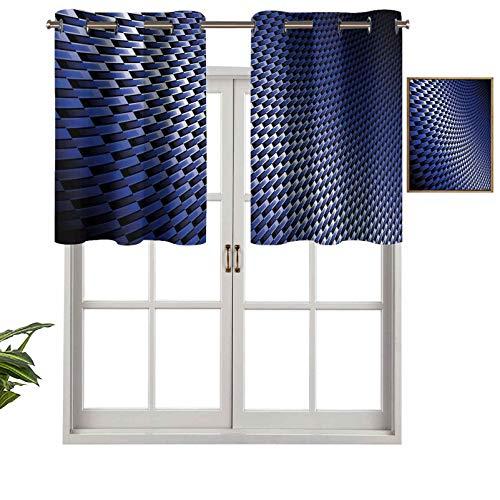 Hiiiman Cortina de ventana con filtro de luz, ojal superior, cenefa curvada, textura de fibra de carbono, imagen industrial moderna, juego de 2, 137 x 61 cm para ventanas, dormitorio, cocina o baño