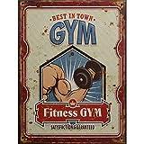 Blechschild Dekoschild Schild Gym Fitness Best in Town Retro Antikstil 33x25 cm
