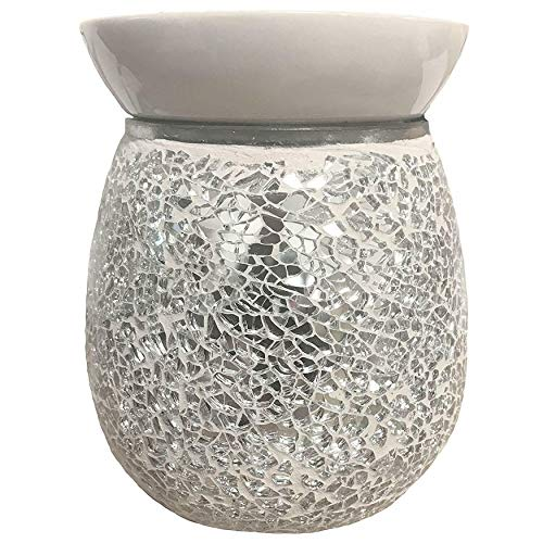 Pure Air Airpure Fragrance Lovers the Mosaic Silver Electric Wax Melt Oil Melter Burner with Glowing Backlight & Removable Ceramic Top Tray
