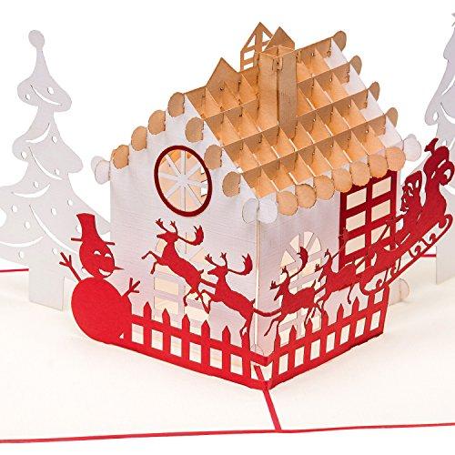 Biglietto di Natale 3D, motivo: casette con pupazzo di neve, albero di Natale, Babbo Natale con slitta e renne, pop up 3D, biglietto di auguri natalizio.