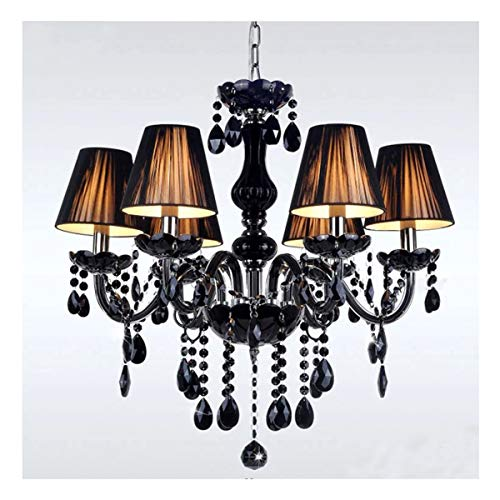 ZHLJ Lámpara de Cristal con 6 Brazos de Montaje con Pantallas de lámparas Negras, Cristal de Gota de Lluvia