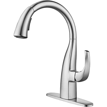 WOWOW Kitchen Sink Faucet, Pull Down Kitchen Faucet with Sprayer, Brushed Nickel Single Handle and Leak Free 360° Rotary High Arc Faucets, Stainless Steel Sink Faucet, Elegant Goose-Neck Design