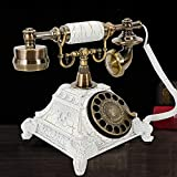 Retro Rotary Phone Vintage Telephone Retro Phone Vintage Rotary Dial Phone Resin White Vintage Landline Phone Desk Telephone Phone Home Office Telephone for Home and Decor (D)