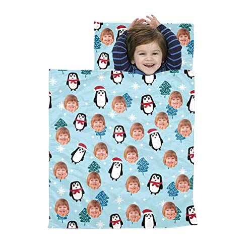 Custom Photo Face Christmas Penguin Kids Sleeping Bag, Personalized Toddler Sleeping Bag with Pillow