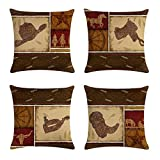 geinne 4pack Cowboy Style Throw Pillow Case Vintage Western Cowboys Riding Horses Theme Decorative Square Cotton Linen Cushion Cover for 18 X 18 Inch Pillow Inserts (Cowboy-2)