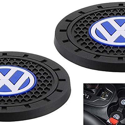"AOOOOP Car Interior Accessories for Volkswagen VW Cup Holder Insert Coaster - Silicone Anti Slip Cup Mat for VW Jetta Passat Arteon Tuguan Atlas Golf Beetle (Set of 2, 2.75"" Diameter)"