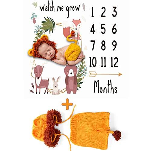 YAOXI Bebé Milestone Blanket, Manta De Mes Bebé para Imágenes 0-3 Meses Recién Nacido Bebé Traje De Punto De Fotografía Suave Foto Prop Manta Único Bebé Regalo para Recién Nacido,B