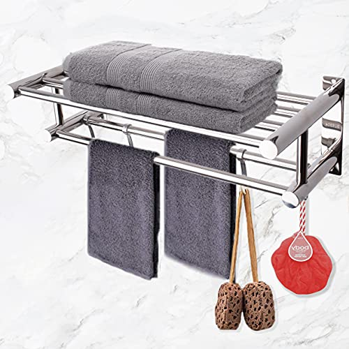 LELUXE Bathroom Towel Rack Shelves - SUS304 Stainless Steel with Double Towel Bar & 5 Hooks, Bathroom Organizer, Shelf Holder for Bedroom Kitchen Hotel. Bathroom storage for Towels, Robes, Accessories
