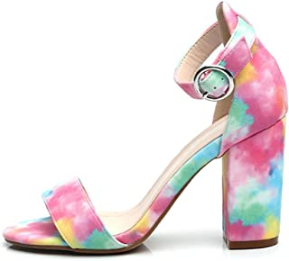 Women's High-Heeled Sandals, Open-Toe High-Heeled Shoes with 9.5Cm Thick Heels and Colorful Halo Patterns Comfortable and Non-Slip Suitable for Everyday Wear