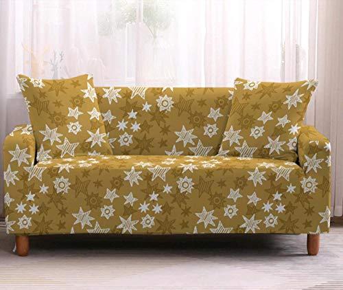 Funda Elástica de Sofá de 3 Plazas Patrón de Estrellas Amarillas Funda sofá (Regalar 2 Funda de Cojines) Funda para Sofá Funda de sofá de Sillón Antideslizante Protector Cubierta de Muebles