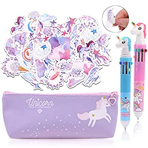 HOWAF Unicornio Estuche Lápices Set para Niña Escolares con Linda Unicornio Estuches, Unicornio Bolígrafos Pegatinas…